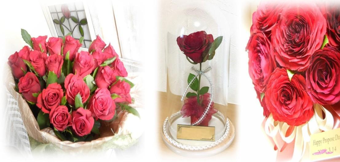 プロポーズ花束 赤バラ ドライ保存
